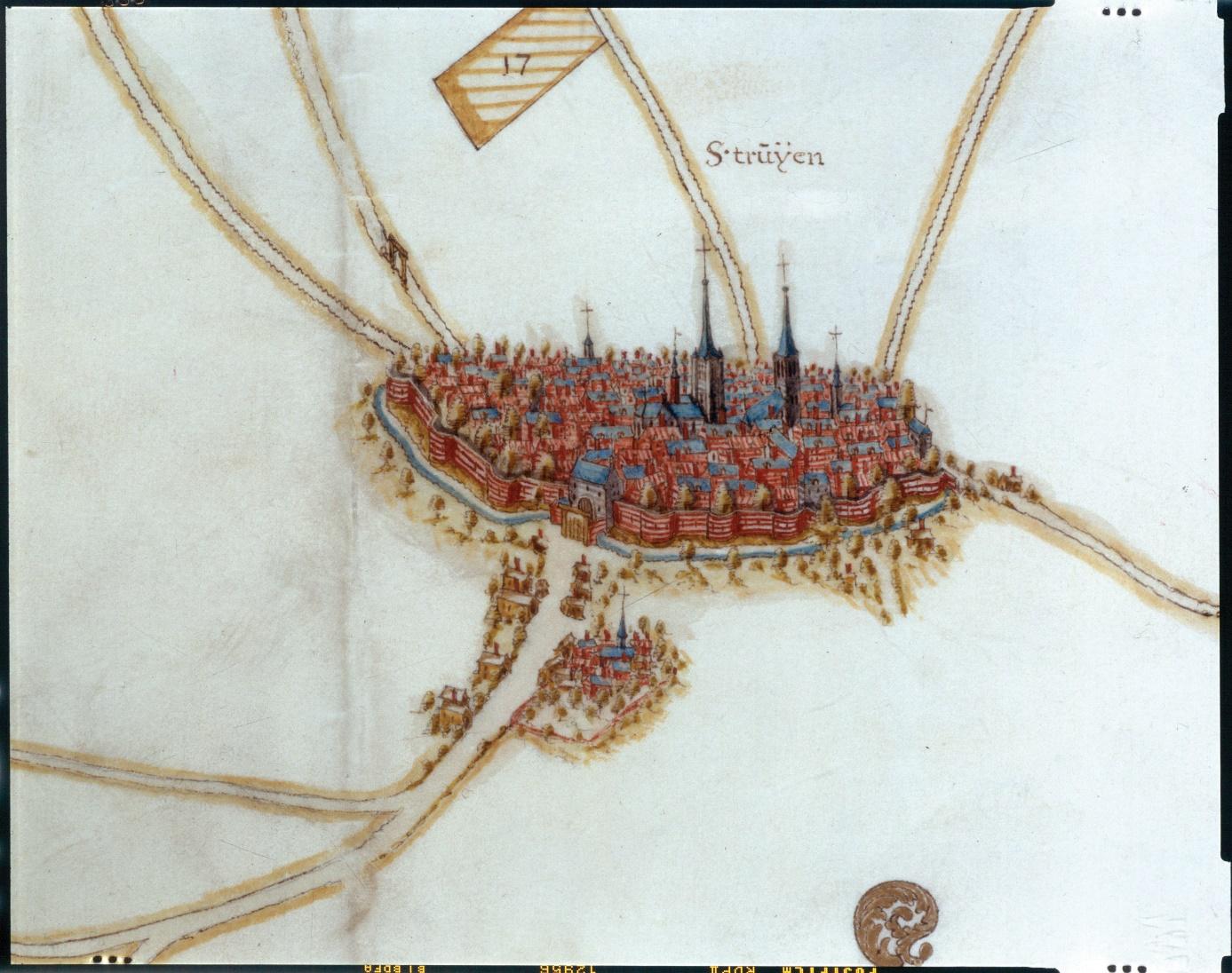 A:\Archief\STADSARCHIEF PUBLIEK\Kaarten en plannen\Kaartenboek van de abdij van Averbode\25D3 Sint-Truiden centrum.jpg
